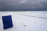 Ebb and Flow on Blue on February 5, in the snowy wetlands before being painted with sea-clay